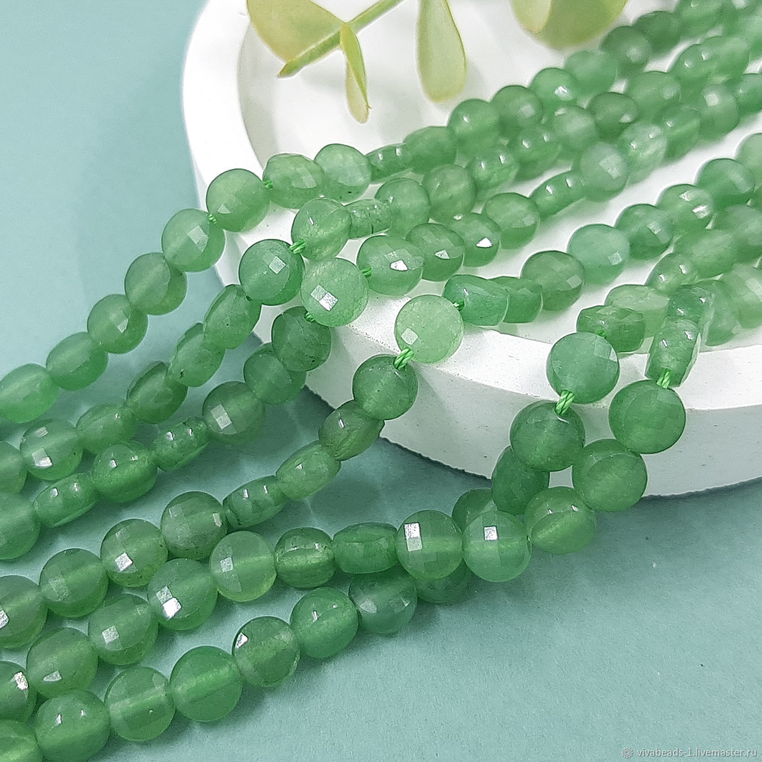 10 PCs. Aventurine natural faceted bead 6-7x4-4.5 mm (5473), Beads1, Voronezh,  Фото №1