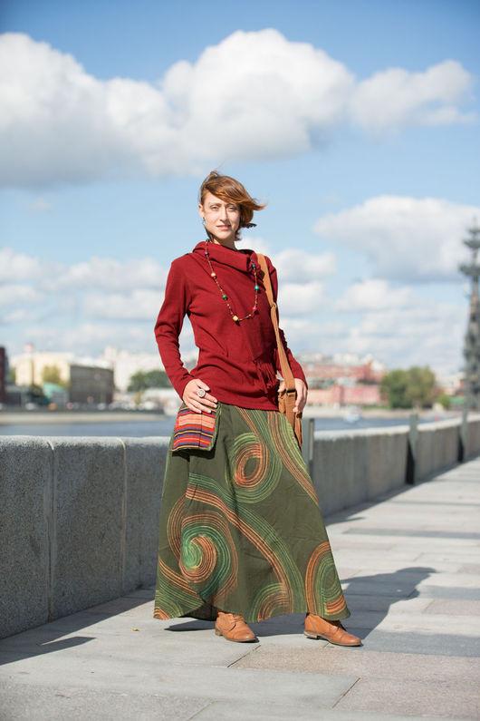 Юбки ручной работы. Ярмарка Мастеров - ручная работа. Купить Длинная юбка Circules зеленая. Handmade. Зеленый, хлопок