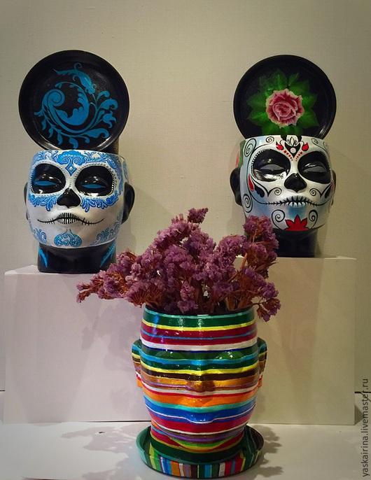 """Кашпо ручной работы. Ярмарка Мастеров - ручная работа. Купить Кашпо """"Голова девы"""". Handmade. Разноцветный, голова, полоски"""