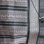 Материалы для творчества ручной работы. Ярмарка Мастеров - ручная работа Натуральный шелк вышитый, купон винтажной ткани. Handmade.