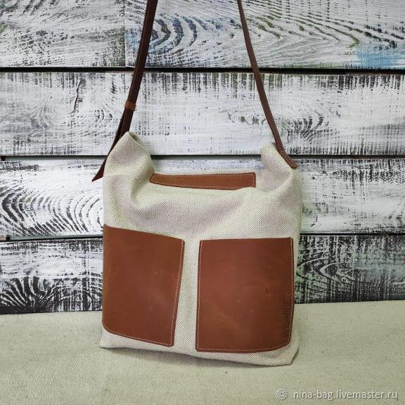Handbags handmade. Livemaster - handmade. Buy bag linen with leather pockets.Bag, crossbody, waist bag, waist purse