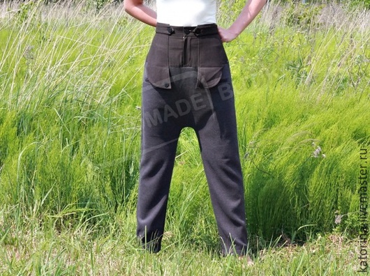 Брюки, шорты ручной работы. Ярмарка Мастеров - ручная работа. Купить Штаны с высокой талией Комби из костюмной ткани с карманами Серый с ко. Handmade.