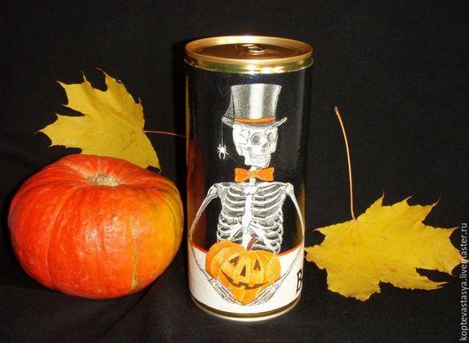 """Подарки на Хэллоуин ручной работы. Ярмарка Мастеров - ручная работа. Купить Декоративное оформление банки """"Хеллоуин"""". Handmade. Черный, скелет"""