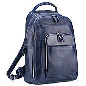 """Сумки и аксессуары handmade. Livemaster - original item Кожаный рюкзак """"Марвин"""" (синий крейзи). Handmade."""