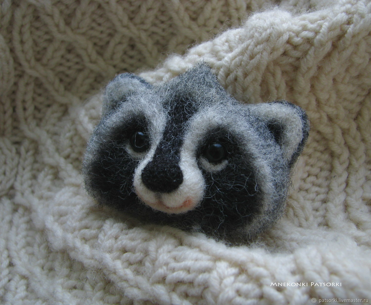 Felted brooch from Raccoon Jean wool, Brooches, Ivano-Frankivsk,  Фото №1