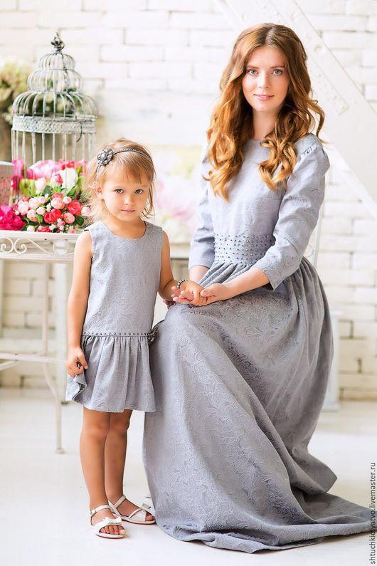 Одежда для девочек, ручной работы. Ярмарка Мастеров - ручная работа. Купить Серое жаккардовое платье с комплектом аксессуаров. Handmade. Серый