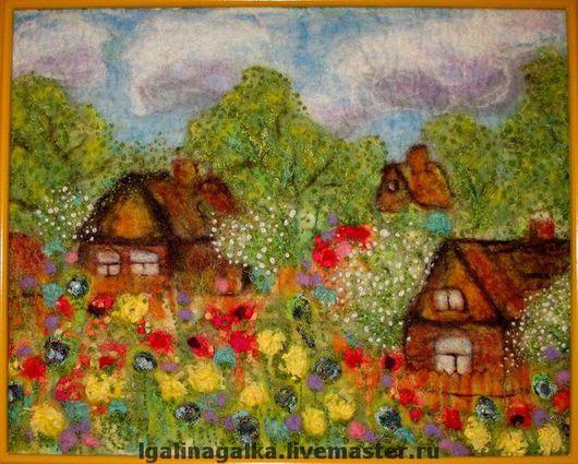"""Пейзаж ручной работы. Ярмарка Мастеров - ручная работа. Купить Валяная картина """"Цветочная радуга весны"""". Handmade. Шерсть, для дома"""