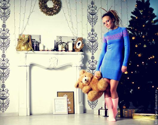 Платья ручной работы. Ярмарка Мастеров - ручная работа. Купить Платье-свитер. Handmade. Голубой, орнамент, платье