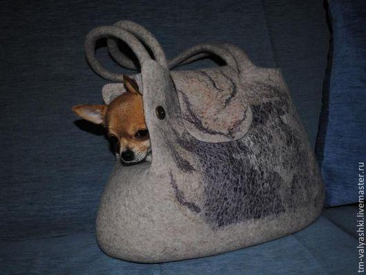 Аксессуары для собак, ручной работы. Ярмарка Мастеров - ручная работа. Купить Валяная сумка-переноска для собак. Handmade. Бежевый