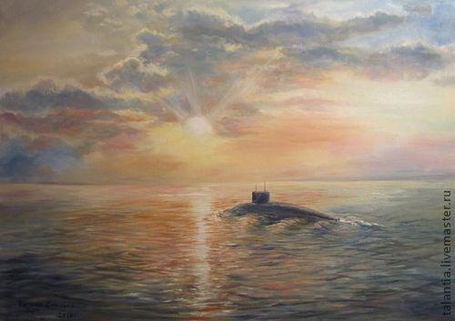 """Пейзаж ручной работы. Ярмарка Мастеров - ручная работа. Купить Картина """"Подводная лодка в Черном море"""". Handmade. Подарок"""