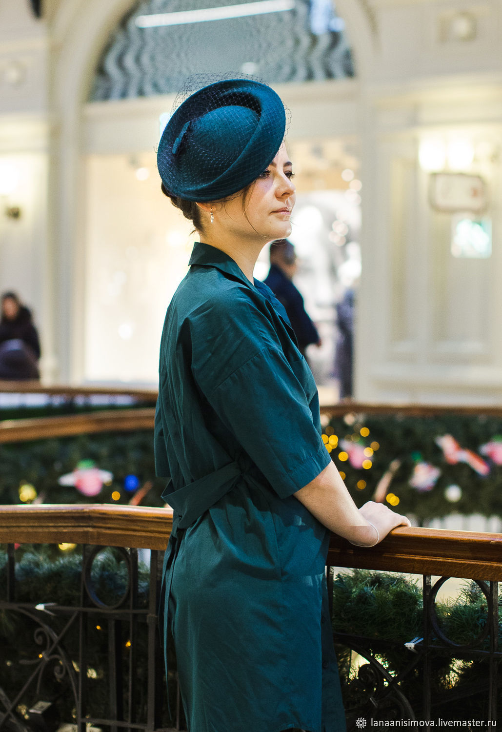Hat with a veil ' Selena'. Color: sea wave, Hats1, Moscow,  Фото №1