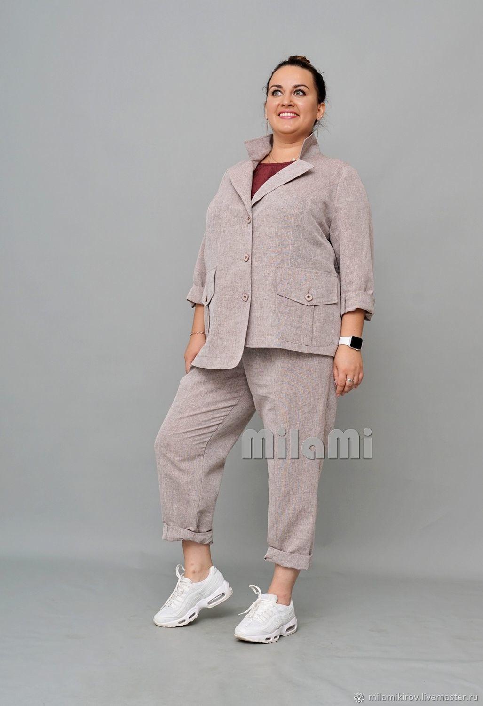 Straight jacket with asymmetric hem linen brown. Art.4401, Jackets, Kirov,  Фото №1