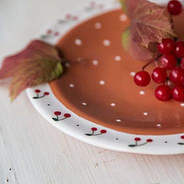 """Посуда ручной работы. Ярмарка Мастеров - ручная работа """"Вишнёвый пирог"""" Блюдце ручной работы, керамика. Handmade."""
