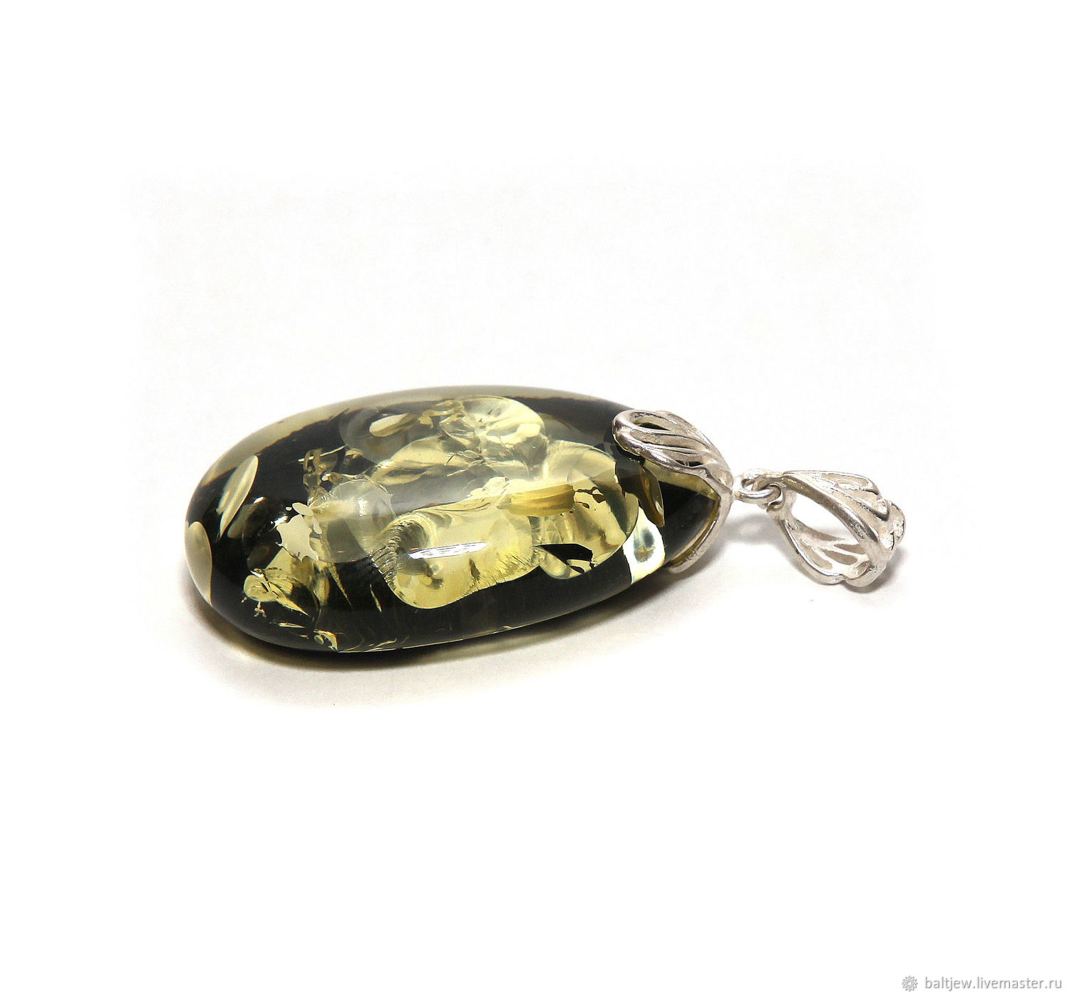 Pendant with amber, the 'Baltic lagoon', Pendant, Moscow,  Фото №1