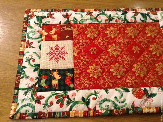 Новый год 2017 ручной работы. Ярмарка Мастеров - ручная работа. Купить Новогодние текстильные салфетки Повтор. Handmade. Ярко-красный