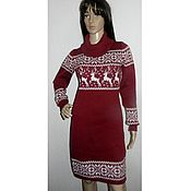Одежда handmade. Livemaster - original item Sweater dress with reindeer and Norwegian ornaments(Bordeaux). Handmade.