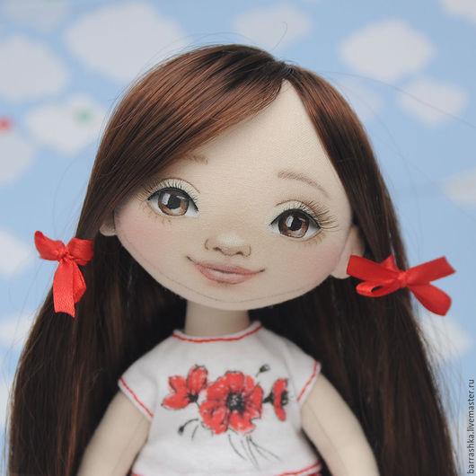 Коллекционные куклы ручной работы. Ярмарка Мастеров - ручная работа. Купить Интерьерная куколка. Handmade. Ярко-красный, кукла текстильная
