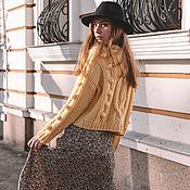 Одежда handmade. Livemaster - original item Jerseys: Women`s yellow sweater with bumps oversize. Handmade.