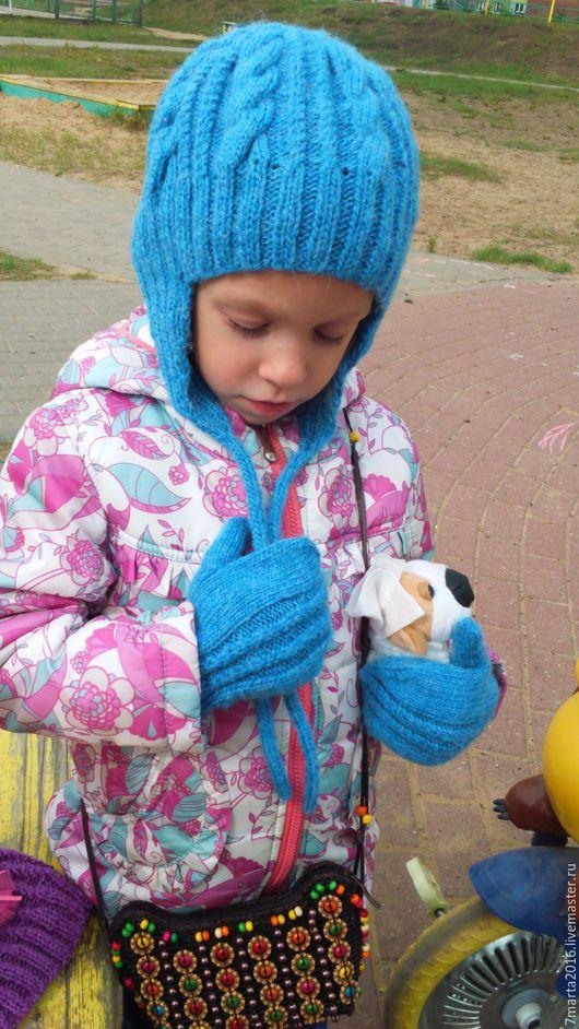 Шапки и шарфы ручной работы. Ярмарка Мастеров - ручная работа. Купить Зимняя шапка. Handmade. Синий, однотонный, 15% шерсть