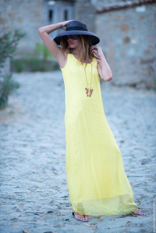 Платье, Длинное платье, Платье из шелка с шифоном, Платье в пол, Летнее платье, Платье на подкладке, Желтое платье, ЕУГ