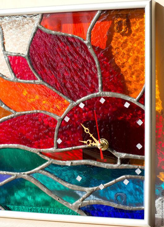 """Часы для дома ручной работы. Ярмарка Мастеров - ручная работа. Купить Часы-картина для украшения интерьера  """"Восход солнца"""". Handmade."""