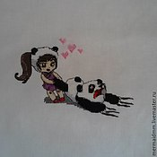 Картины и панно handmade. Livemaster - original item The girl and the Panda. Handmade.