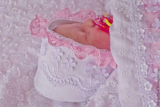 Для новорожденных, ручной работы. Ярмарка Мастеров - ручная работа. Купить Шапочка- чепчик  для новорожденных. Handmade. Белый, чепчик на выписку