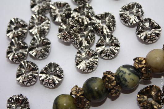 """Для украшений ручной работы. Ярмарка Мастеров - ручная работа. Купить Бусины """"Рондель в цветах"""" цвет серебро и бронза. Handmade."""