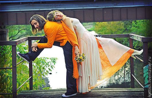 Платья ручной работы. Ярмарка Мастеров - ручная работа. Купить Свадебный комплект. Handmade. Оранжевый, платье, фрак, индивидуальный пошив