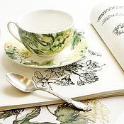 Посуда ручной работы. Ярмарка Мастеров - ручная работа Роспись фарфора Чайная пара Хризантема. Handmade.