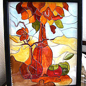 Для дома и интерьера handmade. Livemaster - original item Stained Glass Autumn. Handmade.