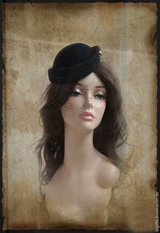 """Шляпы ручной работы. Ярмарка Мастеров - ручная работа. Купить Таблетка """"Загадка"""". Handmade. Черный, шляпка женская, шляпка таблетка"""