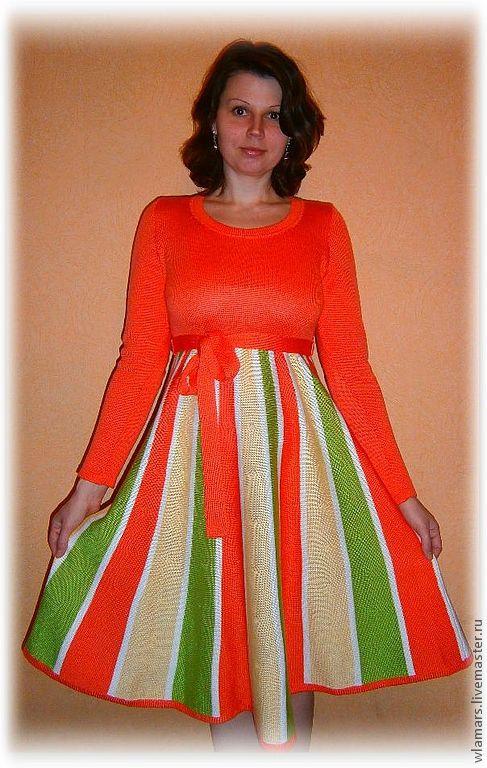 """Платья ручной работы. Ярмарка Мастеров - ручная работа. Купить Вязаное платье """"Рапсодия"""". Handmade. Платье, оранжевый цвет, рапсодия"""