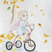 Для дома и интерьера handmade. Livemaster - original item Angel and leaf Painting Watercolor 15х20. Handmade.