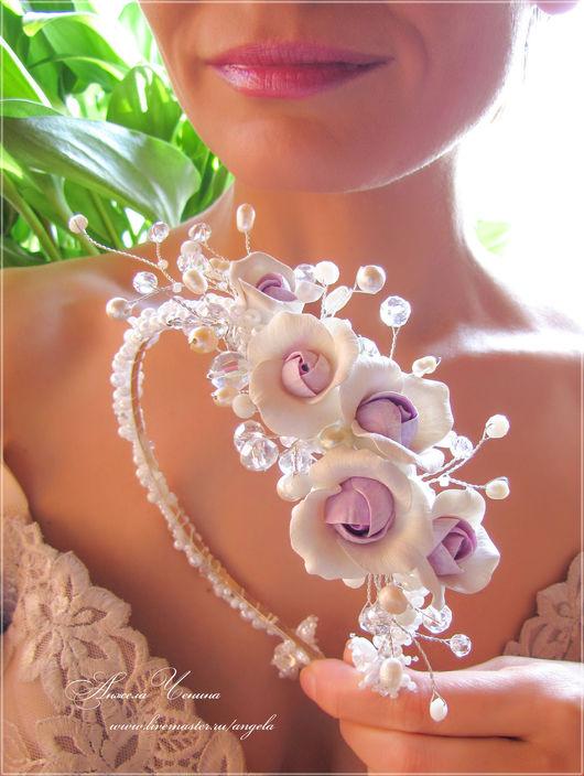 Свадебный ободок-диадема с нежно-фиолетовыми розами.  Необычный свадебный ободок-диадема для невесты.  Диадема с цветами из полимерной глины FIMO.  Диадема-ободок с сиреневыми розами.