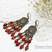 Украшения handmade. Livemaster - original item Long earrings with carnelian. Earrings East. Earrings ethnic. Handmade.