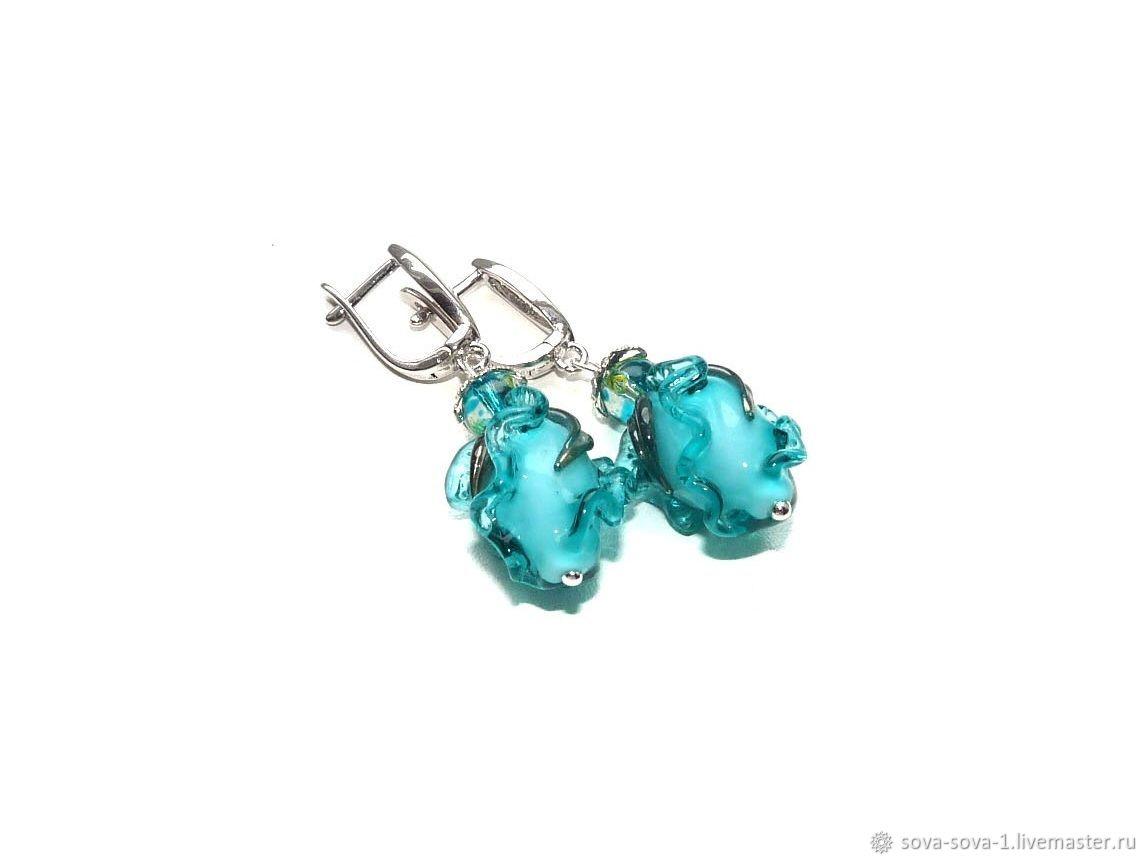 Classic Turquoise Tulip lampwork earrings, Earrings, Moscow,  Фото №1