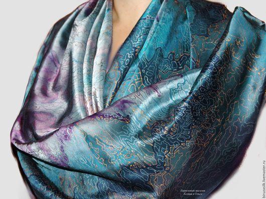 Шали, палантины ручной работы. Ярмарка Мастеров - ручная работа. Купить Бирюза на выход - шелковый платок шаль с ручной росписью и бахромой. Handmade.