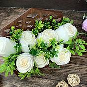 Косметика ручной работы handmade. Livemaster - original item Soap bouquet in a wooden pot White roses. Handmade.