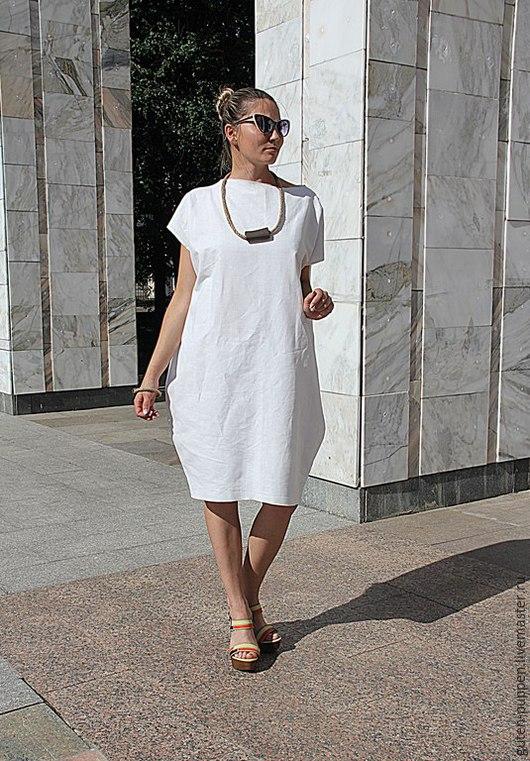 Платья ручной работы. Ярмарка Мастеров - ручная работа. Купить Стильное платье из льна White  LINE. Handmade. Белый