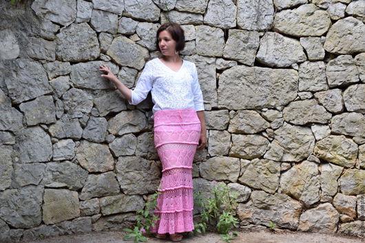 Юбки ручной работы. Ярмарка Мастеров - ручная работа. Купить Розовая вязаная юбка. Handmade. Розовый, розовая юбка