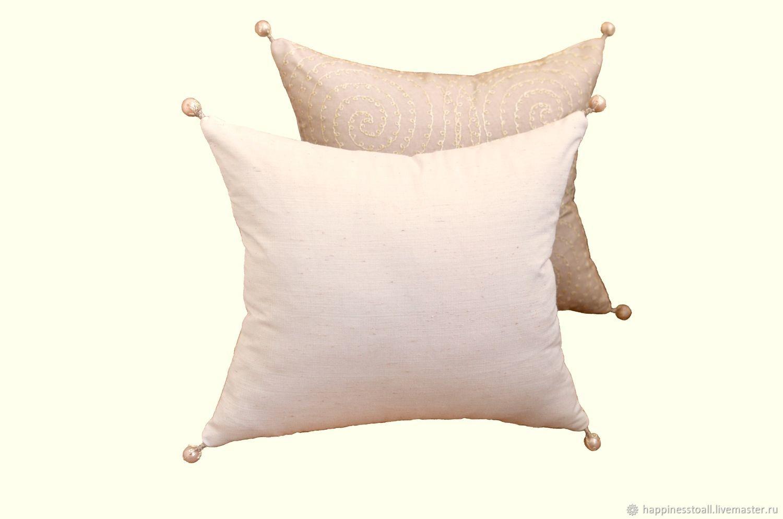 """Комплект """"Серо-бежевый"""" из 2-х декоративных дизайнерских подушек"""