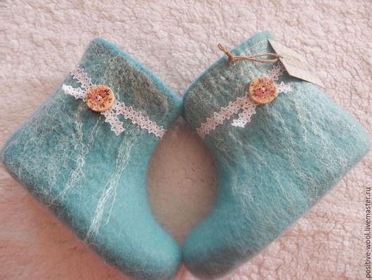 Обувь ручной работы. Ярмарка Мастеров - ручная работа. Купить Валяные валеночки. Handmade. Тёмно-бирюзовый, валяная обувь