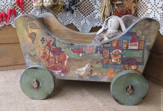 """Детская ручной работы. Ярмарка Мастеров - ручная работа. Купить Тележка """"С гномиками"""". Handmade. Хаки, для кукол и игрушек"""