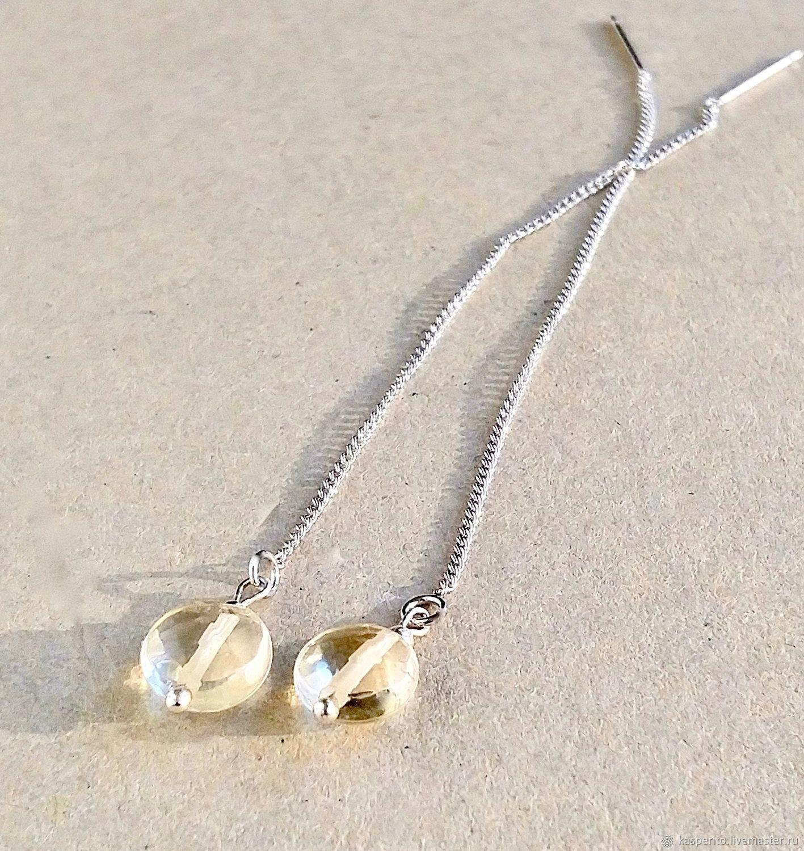 Pendientes de broche Citrino, plata, Thread earring, Moscow,  Фото №1