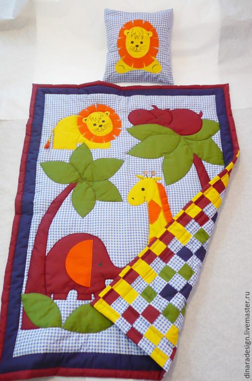 """Детская ручной работы. Ярмарка Мастеров - ручная работа. Купить Детский комплект в кроватку """"Африка"""" для мальчика голубой. Handmade."""