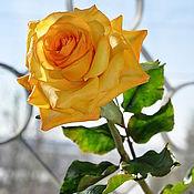 Цветы и флористика ручной работы. Ярмарка Мастеров - ручная работа Цветок из полимерной глины Оранжевая роза. Handmade.