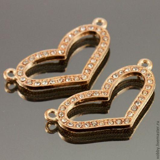 Металлические подвески коннекторы на две нити Сердце усыпанные стразами для использования в сборке украшений Металл сплав с покрытием имитация розовое золото
