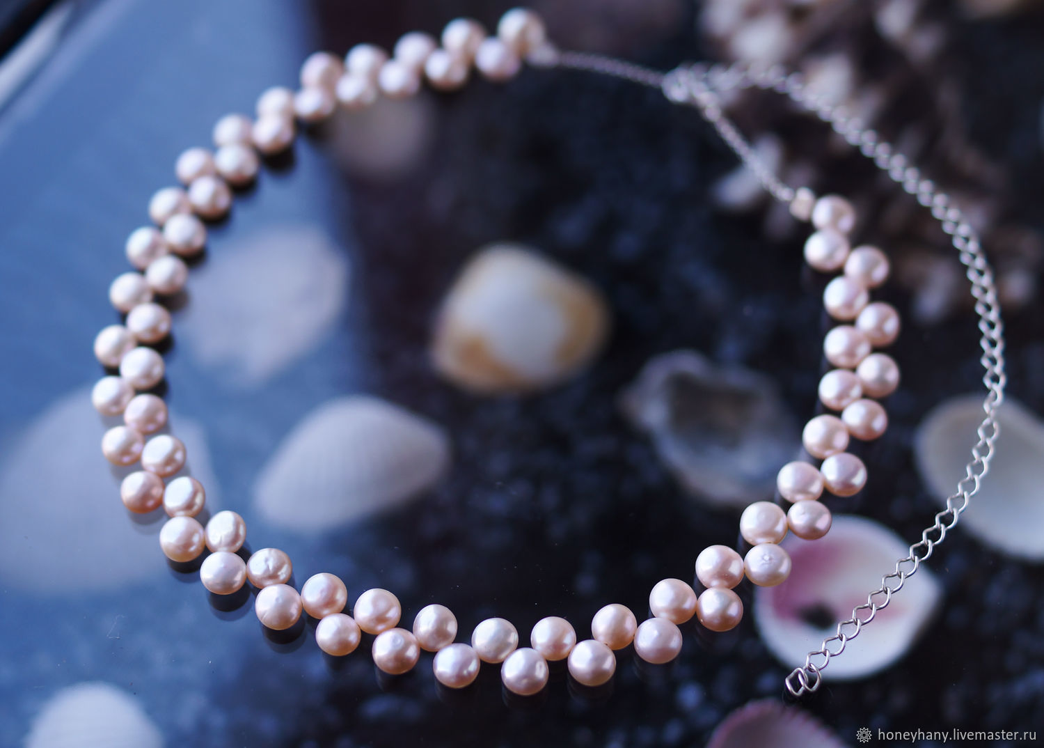 Luxury wide choker made of natural pink pearls, Chokers, Moscow,  Фото №1