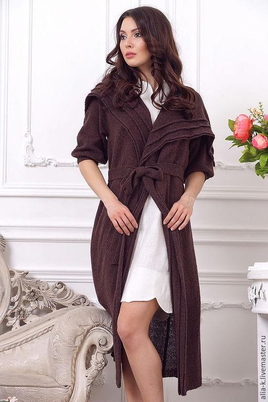 """Верхняя одежда ручной работы. Ярмарка Мастеров - ручная работа. Купить Пальто """"Фонарик"""". Handmade. Коричневый, вязаное шерстяное пальто"""